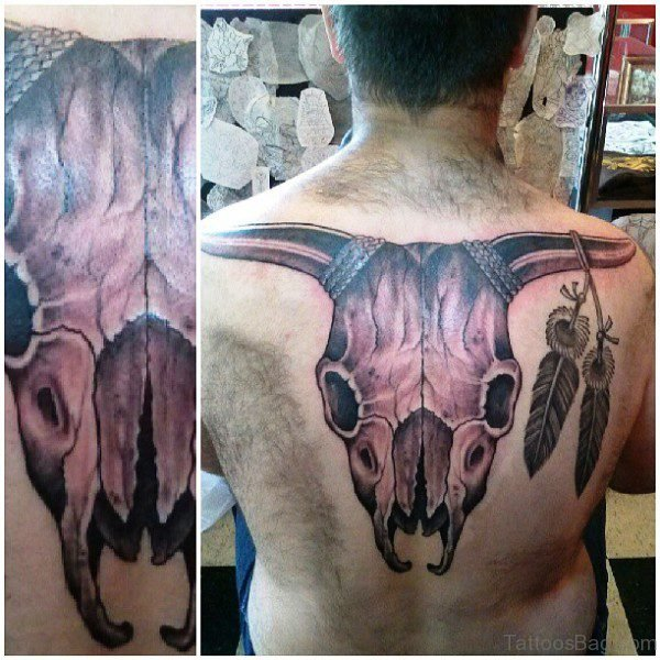 Big Bull Head Skull Tattoo On Back