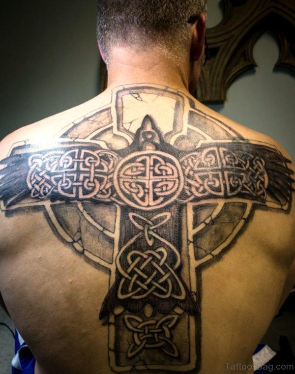 Big Celtic Cross Tattoo On Back