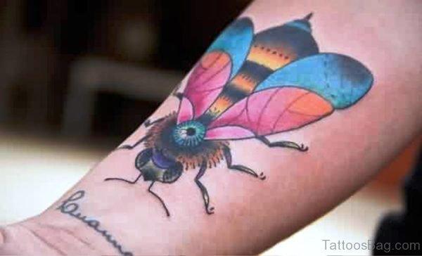 Big Colorful Bee Tattoo