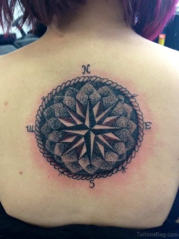 Big Compass Tattoo On Back