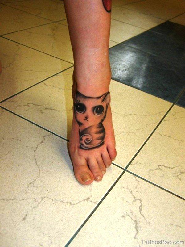 Big Eyed Cat Tattoo On Foot