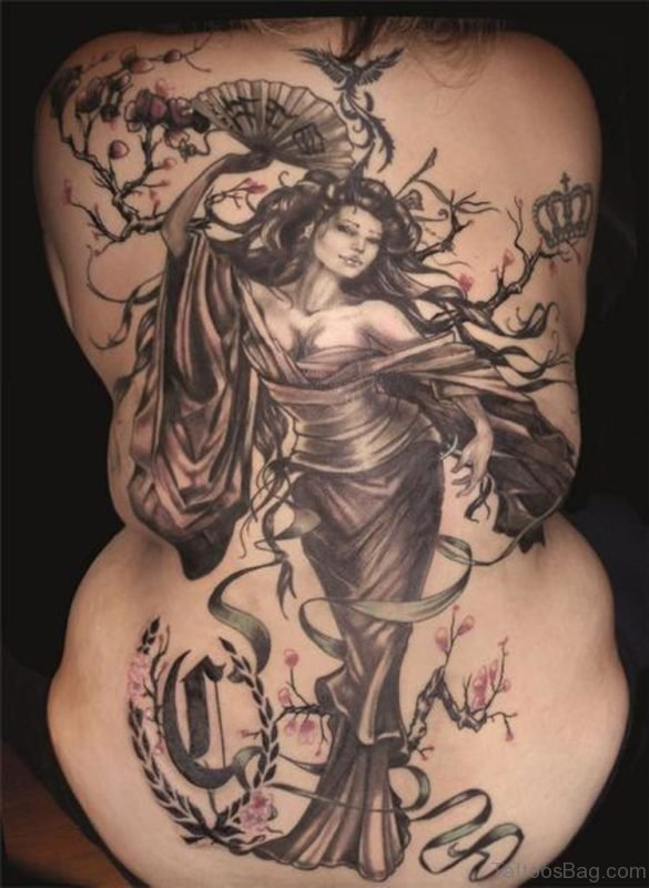 Big Geisha Tattoo On Back Body