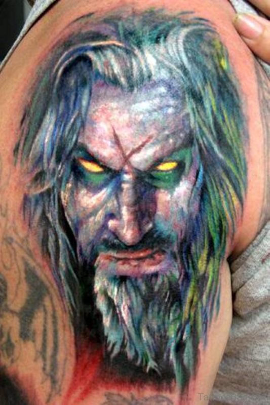 Big Rob Zombie Tattoo On Shoulder