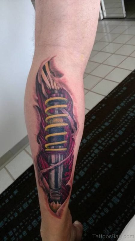 Biomechanical Bike Shocker Tattoo On Leg Calf