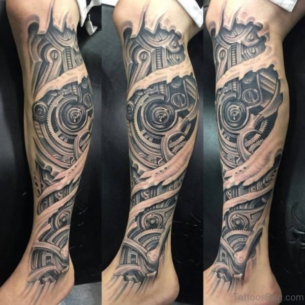 Biomechanical Calf Tattoo Design Picture