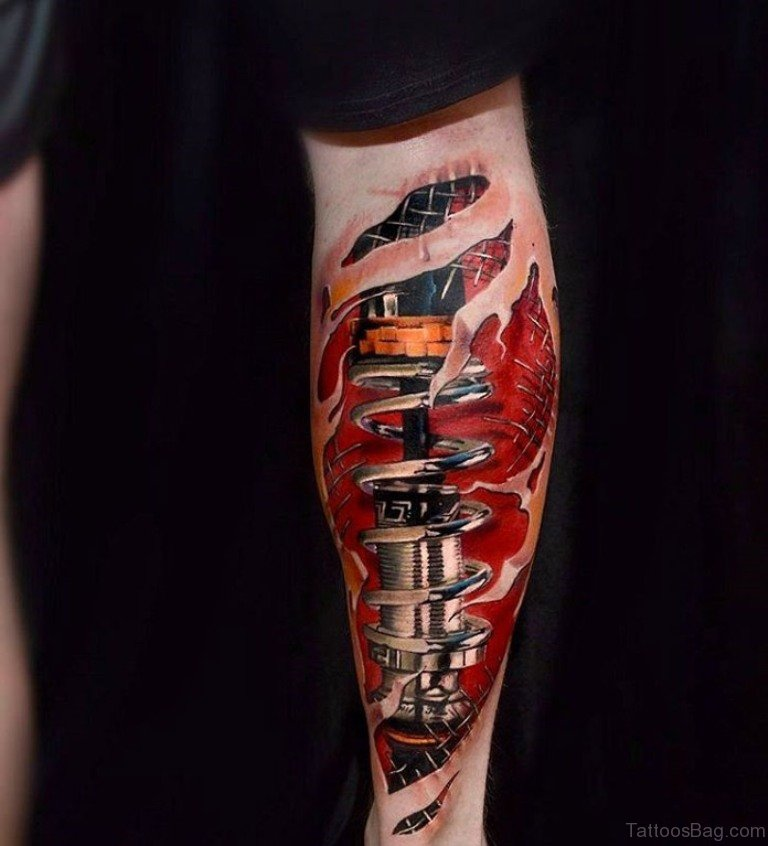 Tattoo Designs Legs: 60 Trendy Biomechanical Tattoos On Leg