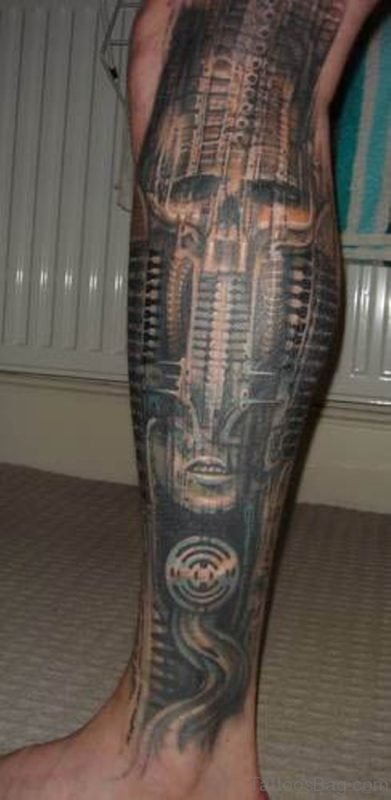 Biomechanical Leg Tattoo Design