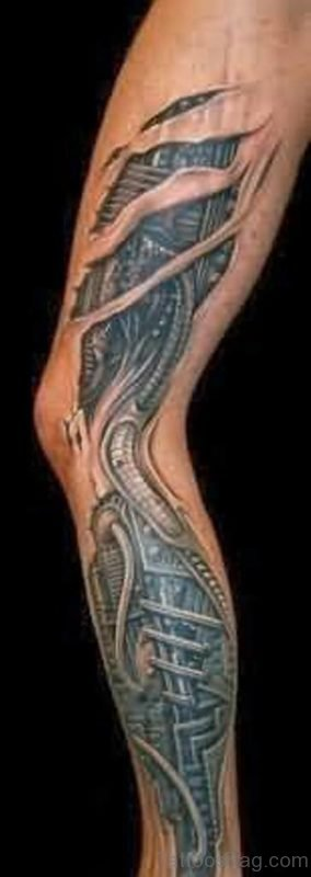 Biomechanical Leg Tattoo For Men