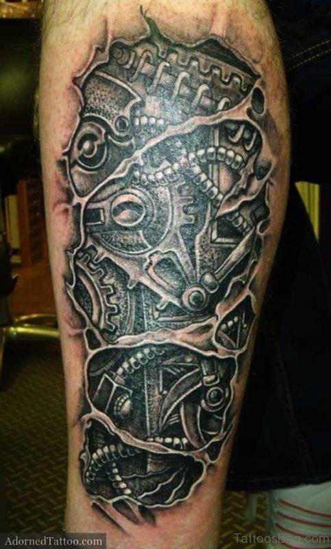 Biomechanical Monster Skull Tattoo
