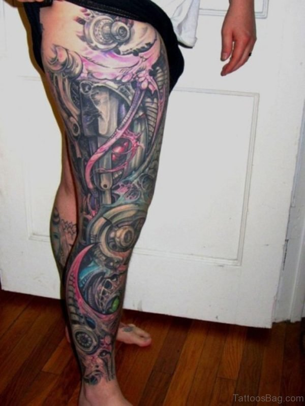 Biomechanical Tattoo Design On Full Leg