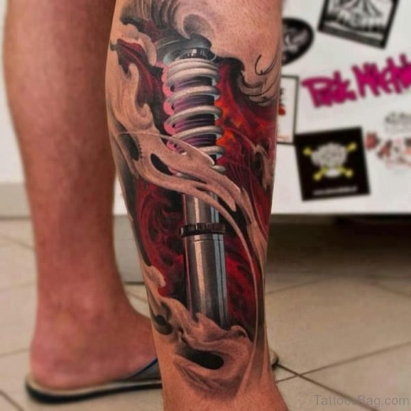 Biomechanical Tattoo On Leg For Men