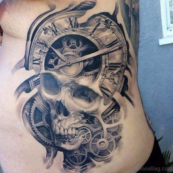 Biomechanical Tattoo On Rib Side For Men
