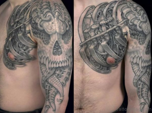 Biomechanical Tattoo Skull on Full Sleeve