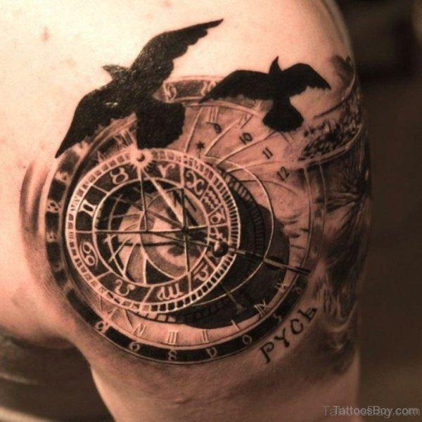 Bird And Clock Shoulder Tattoo