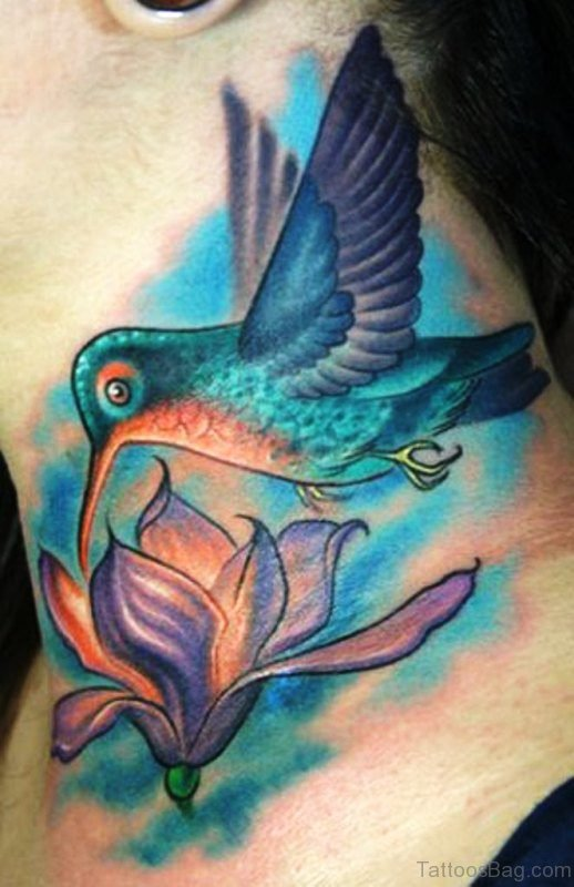 Bird And Flower Tattoo On Neck