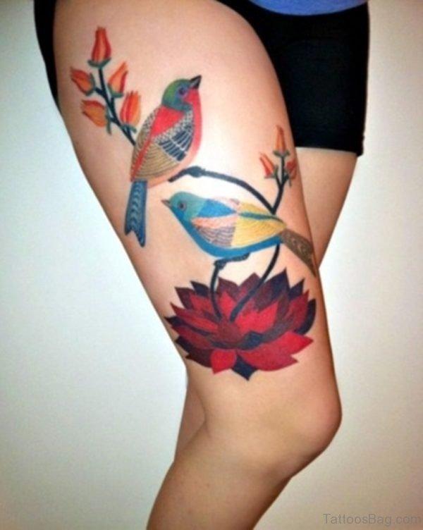 Bird And Lotus Tattoo