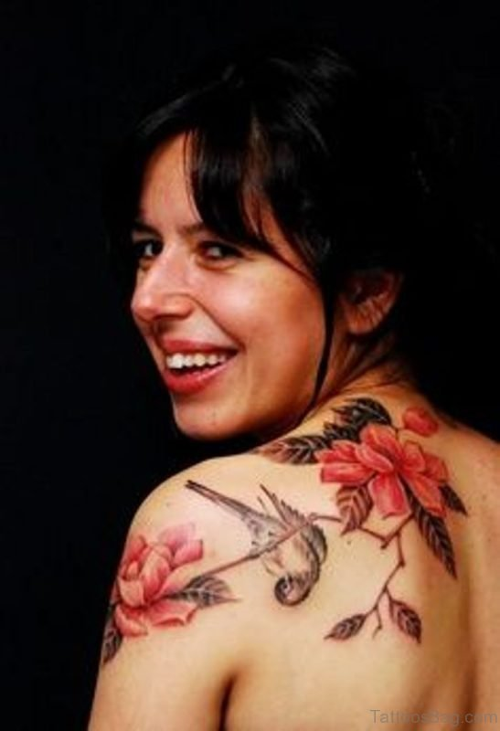 Bird And Magnolia Tree Tattoo