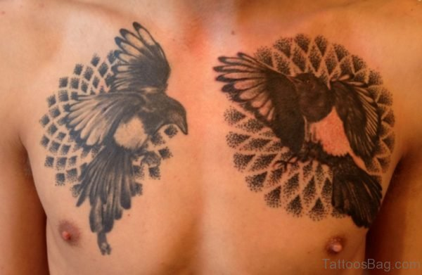 Bird And Mandala Tattoo On Chest