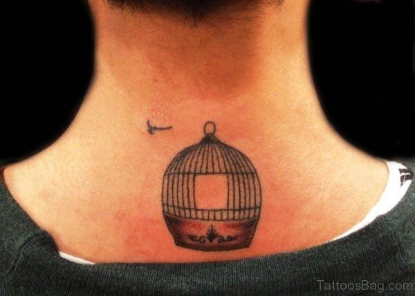 Bird Cage Tattoo On Neck
