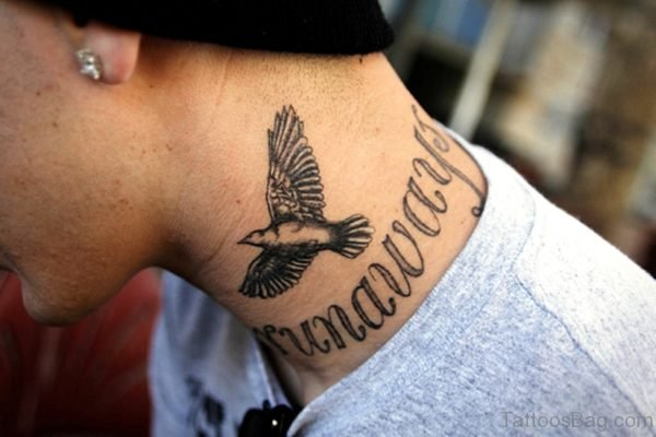 Bird Letter Tattoo On Neck