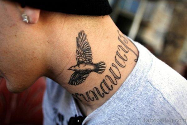 Bird Lettering Tattoo On Neck