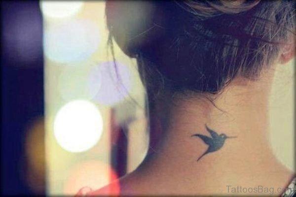 Bird Tattoo On Neck