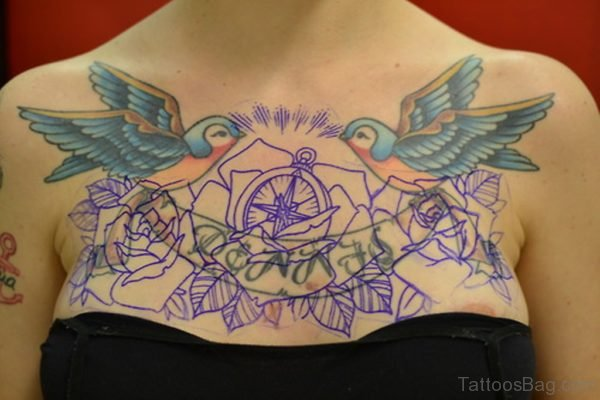 Birds And Compass Tattoo