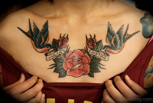 Birds And Rose Tattoo