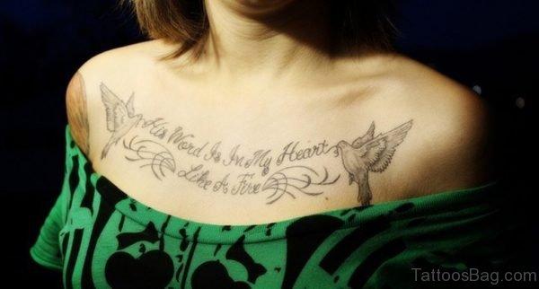 Birds And Wording Tattoo