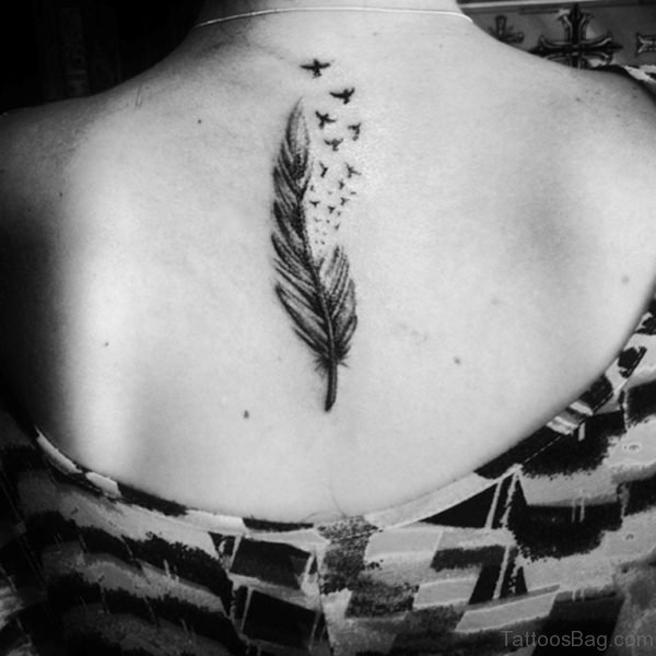 Birds Flying From Feather Back Body Beautiful Tattoo