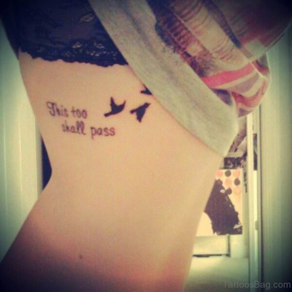 Birds Quote Tattoo On Rib Cage For Girls