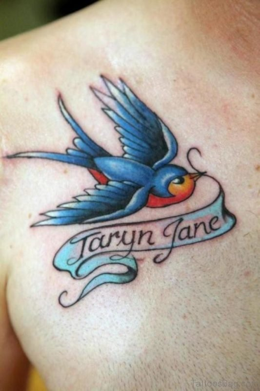 Birds With Banner Tattoo On Chest