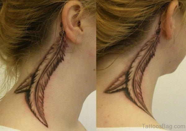 Black ANd Grey Feather Tattoo On Neck