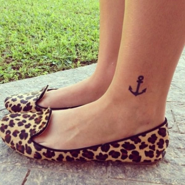 Black Anchor Tattoo On Ankle