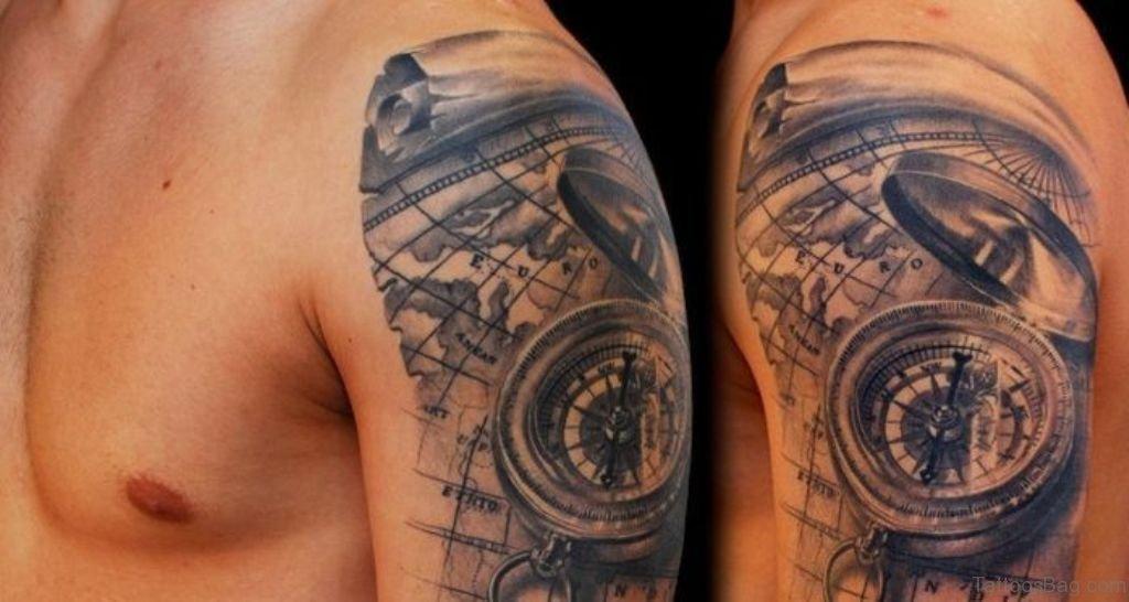 50 amazing compass tattoos on shoulder. Black Bedroom Furniture Sets. Home Design Ideas