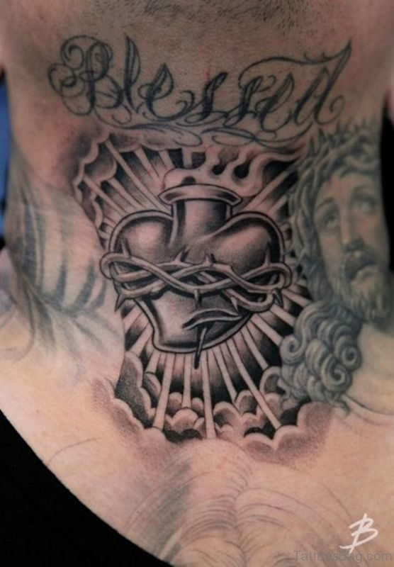 Black And Grey Blessed Tattoo