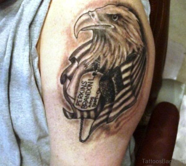 Black And Grey Eagle Tattoo Design