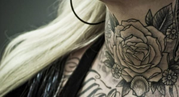 Black And Grey Flower Tattoo On Neck