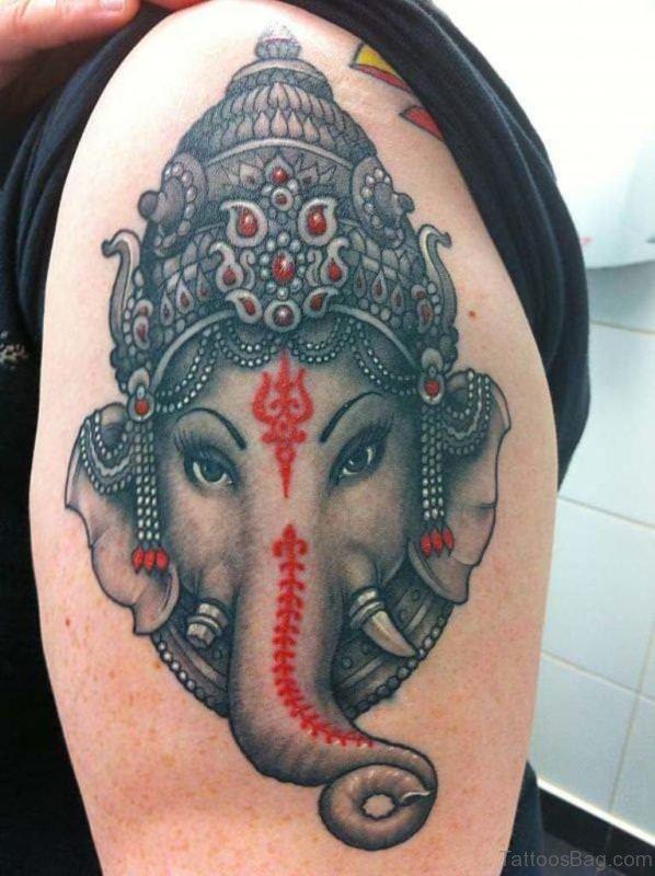 Black And Grey Ganesha Tattoo