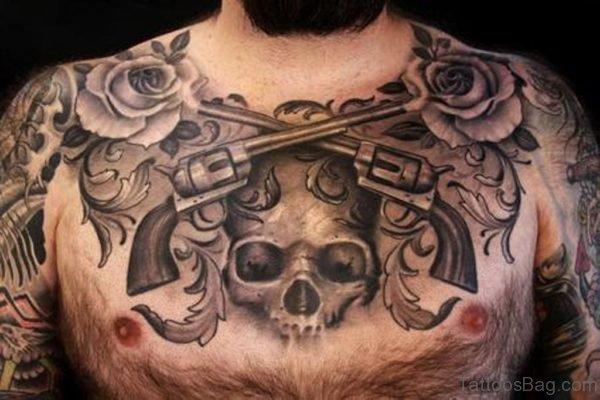Black And Grey Gun Skull Tattoo