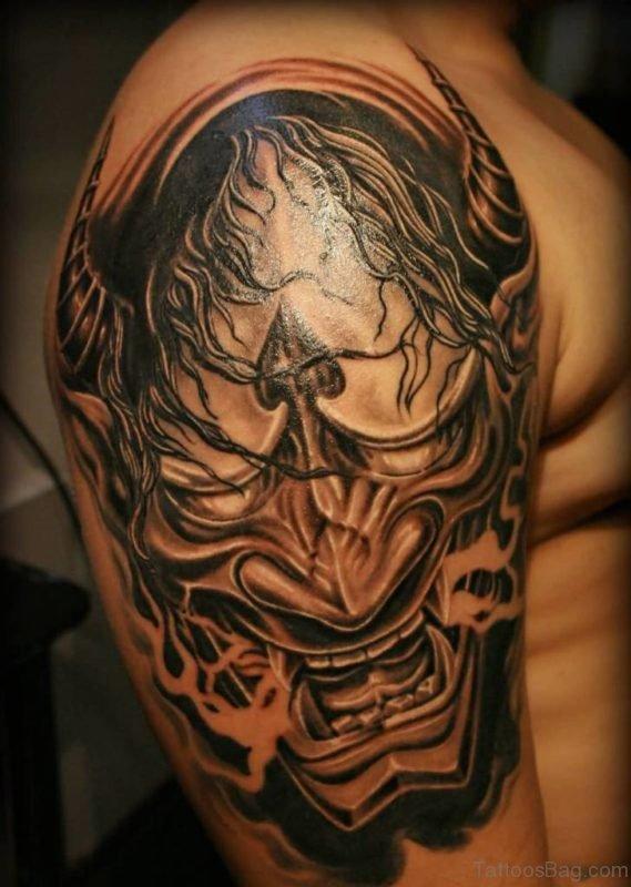 Black And Grey Hannya Tattoo On Shoulder