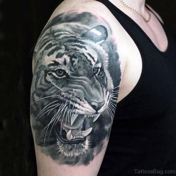 Black And Grey Ink Tiger Tattoo