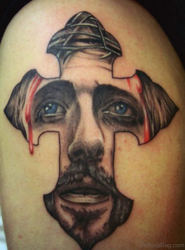 Black And Grey Jesus Face In Cross Tattoo On Shoulder