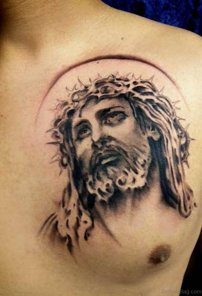 70 mind blowing jesus tattoos for chest for Black and grey chest tattoos