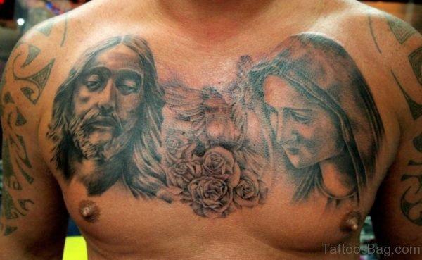 Black And Grey Jesus Saint Mary Tattoo