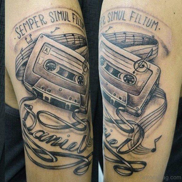 Black And Grey Music Tattoo