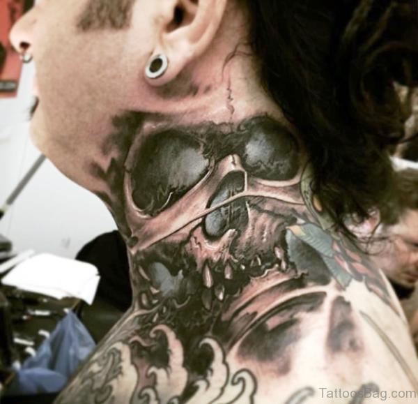 Black And Grey Neck Tattoo