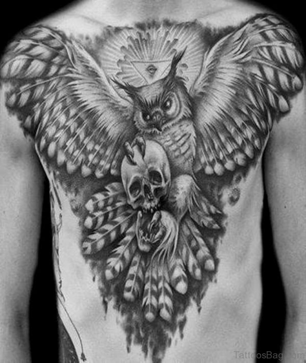 Black And Grey Owl With Skull Tattoo