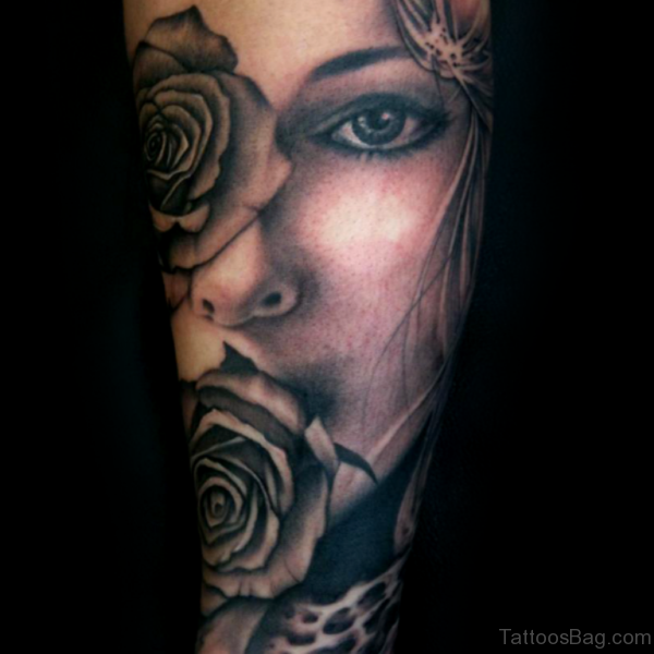 Black And Grey Portrait Tattoo