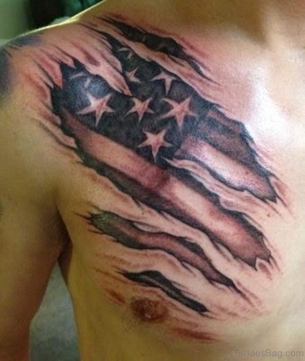 Black And Grey Ripped Skin USA Flag Tattoo On Man Right Chest